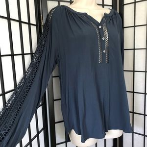 Loft Navy Long Sleeves with Detailed Lace Sleeves